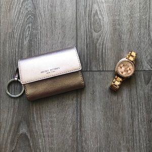 Henri Bendel rose gold wallet with key ring